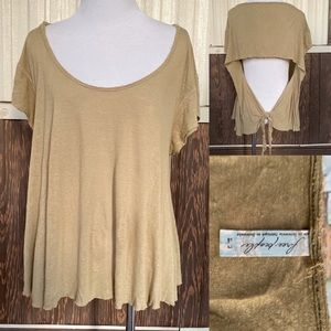 Free People olive green t shirt open back size L